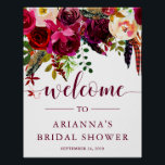 "Boho Floral | Bridal Shower Welcome Sign<br><div class=""desc"">This trendy bridal shower welcome sign features pretty watercolor flowers in vibrant shades of marsala,  wine,  deep green,  red,  and purple,  and matching modern typography.</div>"