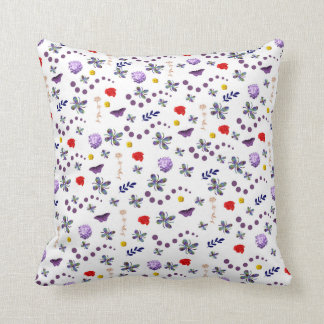 Boho Floral Butterfly Throw Pillow