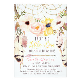 Boho Floral Dreamcatcher Tribal First Birthday Card