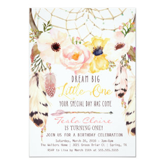 Boho Floral Dreamcatcher Tribal First Birthday Card