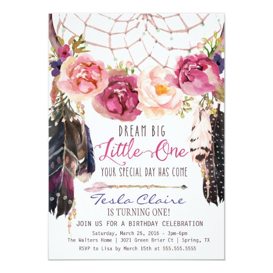 43 Dreamy Watercolor Inspired Wedding Ideas: Boho Floral Dreamcatcher Watercolor First Birthday