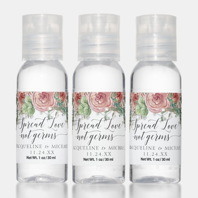 Boho Floral Dusty Pink Rose Foliage Script Love Hand Sanitizer