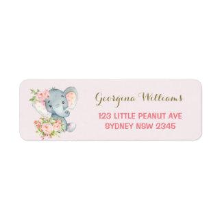 Boho Floral Elephant Baby Shower Address Label