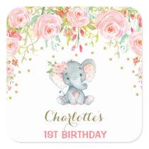 Boho Floral Elephant Birthday Favor Sticker Tag