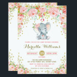 "Boho Floral Elephant Invitation Pink Baby Shower<br><div class=""desc"">Adorable Floral Elephant Baby Shower Invitation</div>"