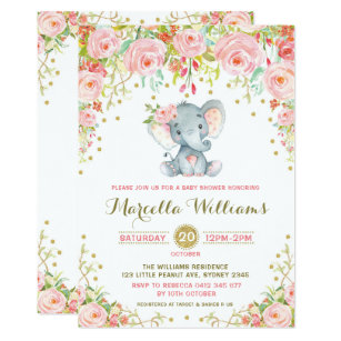 Baby shower photo cards baby shower photo card templates boho floral elephant invitation pink baby shower filmwisefo
