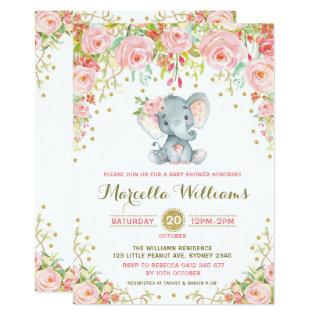 Boho Floral Elephant Invitation Pink Baby Shower at Zazzle