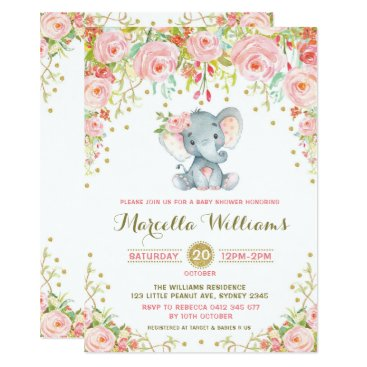 BlueBunnyStudio Boho Floral Elephant Invitation Pink Baby Shower