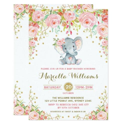 Boho Floral Elephant Invitation Pink Baby Shower