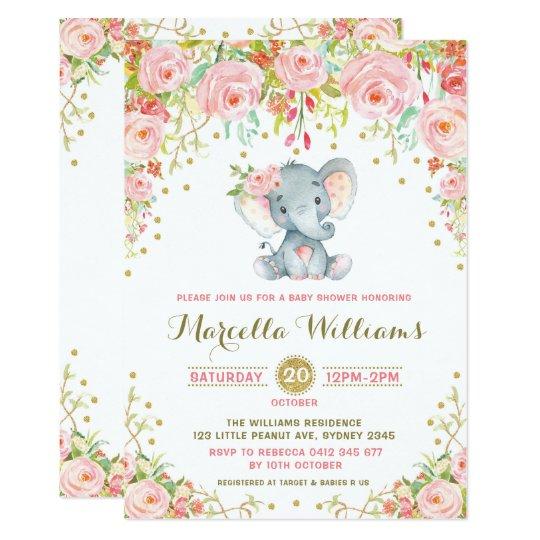 Boho Floral Elephant Invitation Pink Baby Shower Zazzle Com