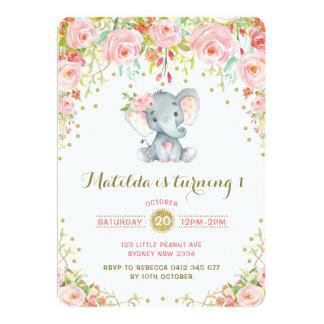 Boho Floral Elephant Invitation Pink Gold Birthday