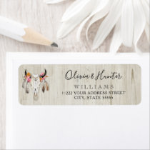 Boho Floral Feather Antler Cow Skull Rustic Wood Label