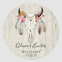 Boho Floral Feather Antler Cow Skull Wedding Classic Round Sticker