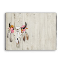 Boho Floral Feather Antler Rustic Wood Envelope