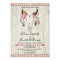 Boho Floral Feather Antlers Cow Skull Wood Wedding Invitation