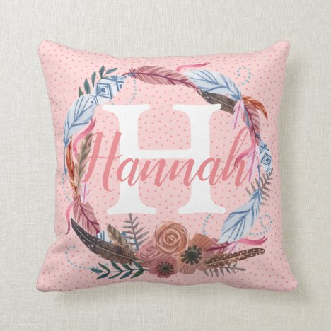 Boho Floral Feather Custom Initial Monogram Throw Pillow