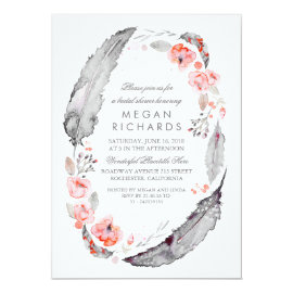 Boho Floral Feathers Vintage Bridal Shower Card