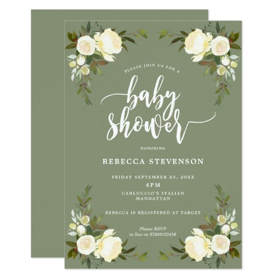 boho floral forest baby shower invitation