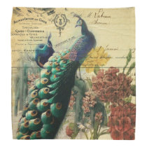 boho floral french country modern vintage peacock bandana