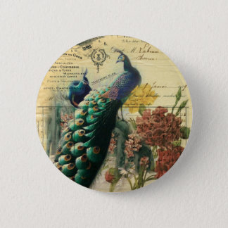boho floral french country modern vintage peacock button