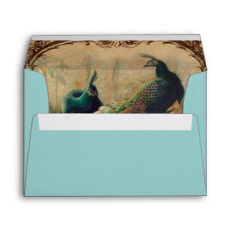 boho floral french country modern vintage peacock envelope