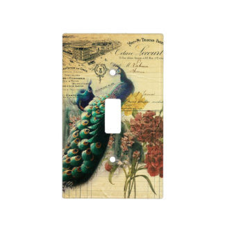 boho floral french country modern vintage peacock light switch cover