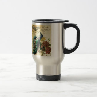 boho floral french country modern vintage peacock travel mug
