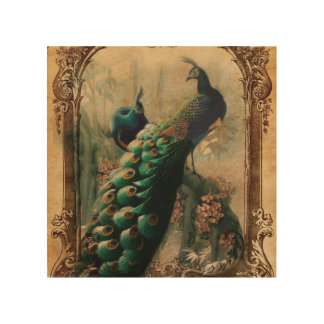 Vintage Peacock Wood Wall Art | Zazzle
