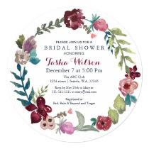 Boho Floral Garden Bridal Shower Invitations