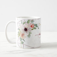 Boho Floral Geometric Rose Custom Monogram Name Coffee Mug