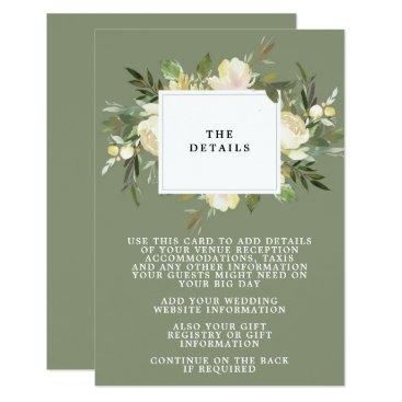 Wedding Themed boho floral green wedding details information card