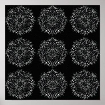 Art Themed Boho Floral Mandala Pattern Bohemian Black Silver Poster