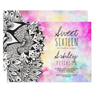 Boho floral mandala watercolor nebula Sweet 16 Card