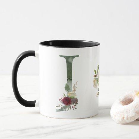 Boho Floral Monogram J Coffee Mug
