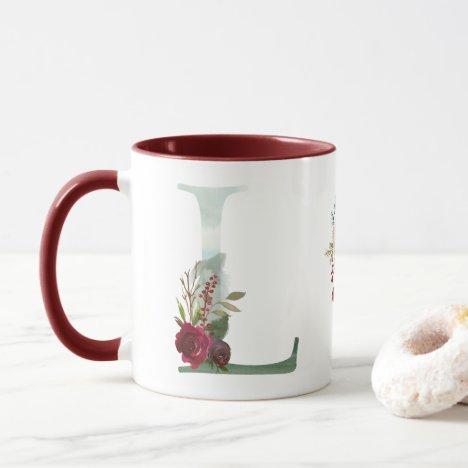 Boho Floral Monogram L Coffee Mug