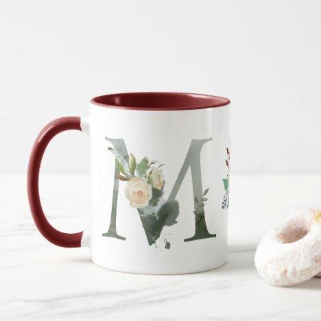 Boho Floral Monogram M Coffee Mug