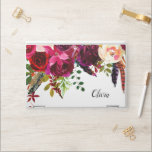 "Boho Floral | Name in Script HP Laptop Skin<br><div class=""desc"">This trendy floral laptop sleeve features a drop border full of marsala red,  burgundy,  and cream colored flowers with green leaves and boho feathers,  and your name in script.</div>"