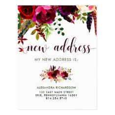 Boho Floral   New Address Postcard at Zazzle