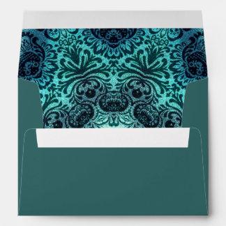 Boho floral paisley turquoise teal mandala henna envelope