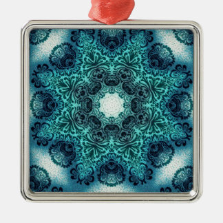 Boho floral paisley turquoise teal mandala henna metal ornament