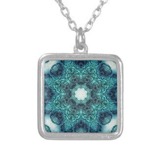 Boho floral paisley turquoise teal mandala henna silver plated necklace