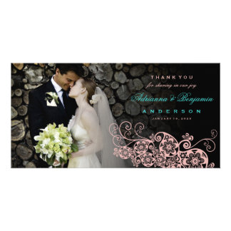 Boho Floral Paisley Wedding Thank You Photo Card