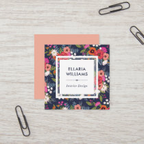 Boho Floral Pattern - Coral & Navy Blue Square Business Card
