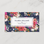 """Boho Floral Pattern - Navy Blue &amp; Coral Business Card<br><div class=""""desc"""">Colorful business card for an interior designer,  event stylist,  makeup artist or similar,  featuring hand-drawn flowers against a dark blue background.</div>"""