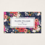 "Boho Floral Pattern - Navy Blue &amp; Coral Business Card<br><div class=""desc"">Colorful business card for an interior designer,  event stylist,  makeup artist or similar,  featuring hand-drawn flowers against a dark blue background.</div>"
