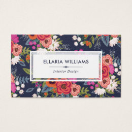 Boho Floral Pattern - Navy Blue & Coral Business Card