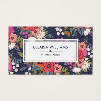 Boho Floral Pattern Navy And Coral Business Card