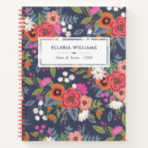 Boho Floral Pattern - Navy Blue & Coral - Name Notebook