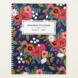 "Boho Floral Pattern - Navy Blue &amp; Coral - Name Planner<br><div class=""desc"">Spiral planner printed with a colorful floral pattern of hand-drawn flowers in orange,  coral red,  hot pink,  and white,  like pansies,  daisies,  and roses. Add your name and the year to the cover.</div>"