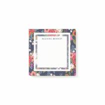 Boho Floral Pattern - Navy Blue - Custom Name Post-it Notes